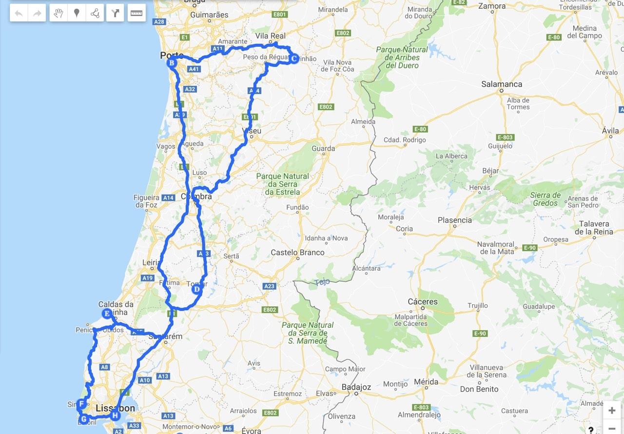 Kartat Portugali Lissabon Porto Algarve Faro Albufeira